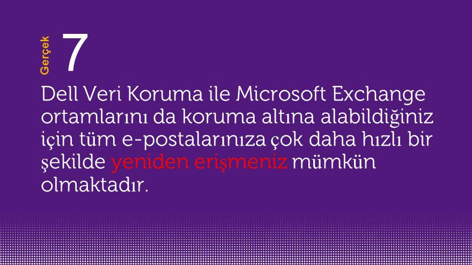 Dell Veri Koruma ile Microsoft Exchange ortamlar ı n ı da koruma alt ı na alabildi ğ iniz i ç in t ü m e-postalar ı n ı za ç ok daha h ı zl ı bir ş ekilde yeniden eri ş meniz m ü mk ü n olmaktad ı r.