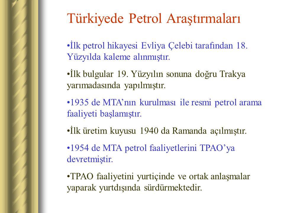 Türkiyede Petrol Araştırmaları İlk petrol hikayesi Evliya Çelebi tarafından 18. Yüzyılda kaleme alınmıştır. İlk bulgular 19. Yüzyılın sonuna doğru Tra