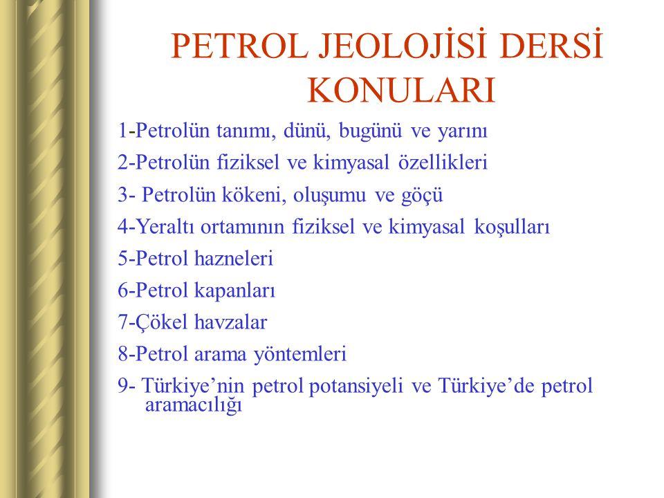 PETROL JEOLOJİSİ DERSİ KONULARI 1-Petrolün tanımı, dünü, bugünü ve yarını 2-Petrolün fiziksel ve kimyasal özellikleri 3- Petrolün kökeni, oluşumu ve g