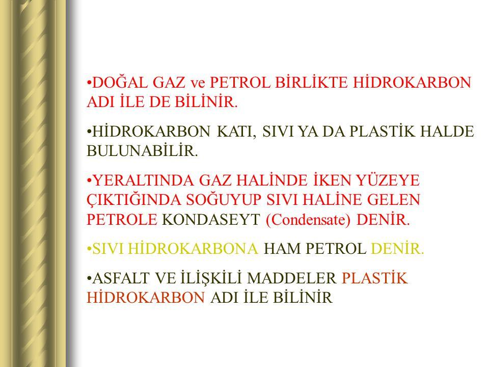 DOĞAL GAZ ve PETROL BİRLİKTE HİDROKARBON ADI İLE DE BİLİNİR. HİDROKARBON KATI, SIVI YA DA PLASTİK HALDE BULUNABİLİR. YERALTINDA GAZ HALİNDE İKEN YÜZEY