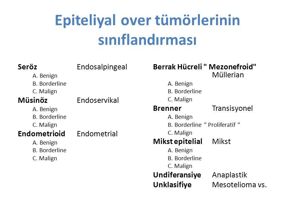 Epiteliyal over tümörlerinin sınıflandırması SerözEndosalpingeal A. Benign B. Borderline C. Malign MüsinözEndoservikal A. Benign B. Borderline C. Mali