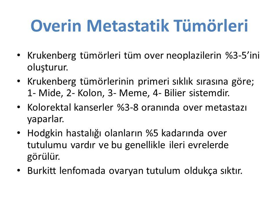 Overin Metastatik Tümörleri Krukenberg tümörleri tüm over neoplazilerin %3-5'ini oluşturur. Krukenberg tümörlerinin primeri sıklık sırasına göre; 1- M