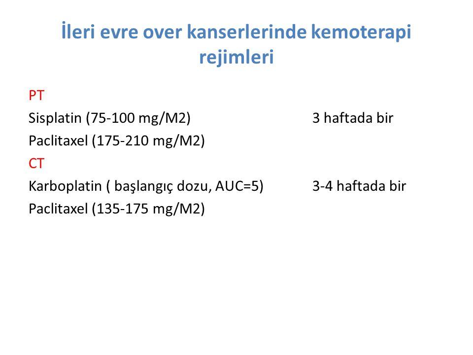 İleri evre over kanserlerinde kemoterapi rejimleri PT Sisplatin (75-100 mg/M2)3 haftada bir Paclitaxel (175-210 mg/M2) CT Karboplatin ( başlangıç dozu