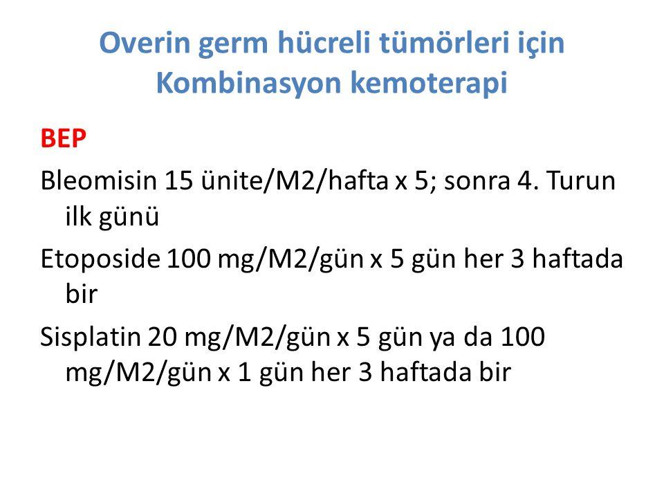 Overin germ hücreli tümörleri için Kombinasyon kemoterapi BEP Bleomisin 15 ünite/M2/hafta x 5; sonra 4. Turun ilk günü Etoposide 100 mg/M2/gün x 5 gün