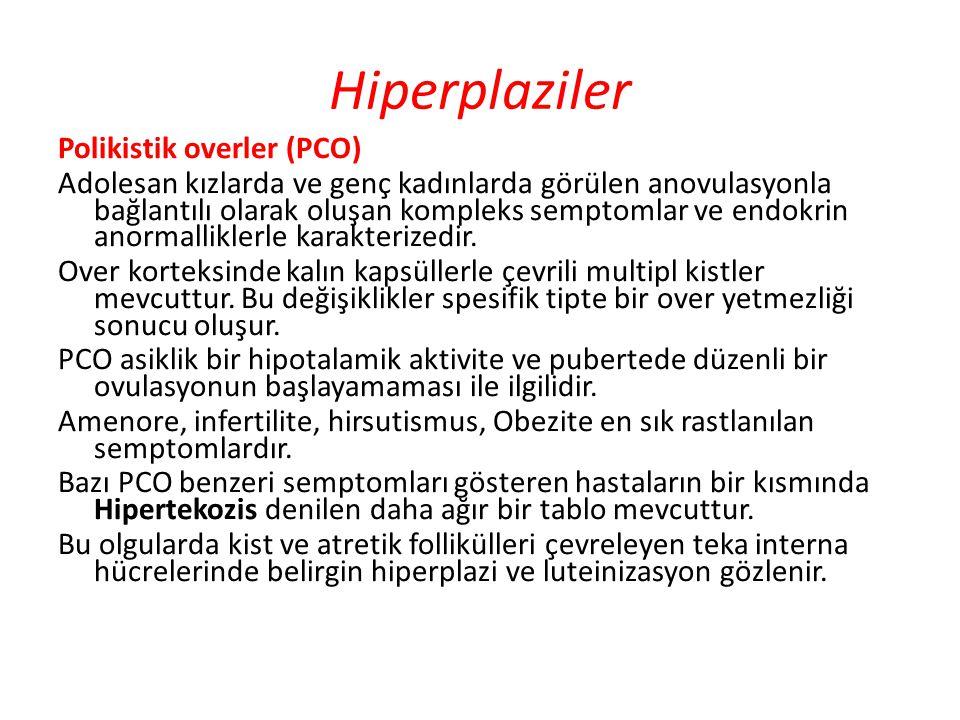 Hiperplaziler Polikistik overler (PCO) Adolesan kızlarda ve genç kadınlarda görülen anovulasyonla bağlantılı olarak oluşan kompleks semptomlar ve endo