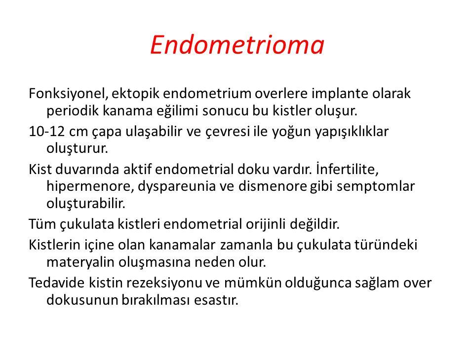 Endometrioma Fonksiyonel, ektopik endometrium overlere implante olarak periodik kanama eğilimi sonucu bu kistler oluşur. 10-12 cm çapa ulaşabilir ve ç