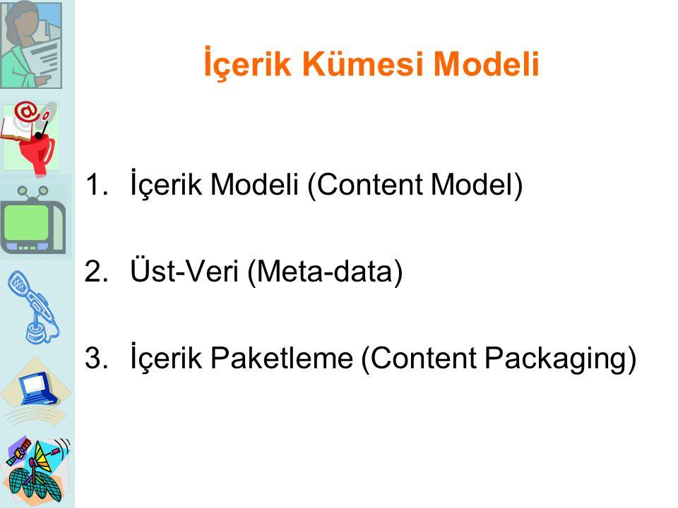 İçerik Kümesi Modeli 1.İçerik Modeli (Content Model) 2.Üst-Veri (Meta-data) 3.İçerik Paketleme (Content Packaging)