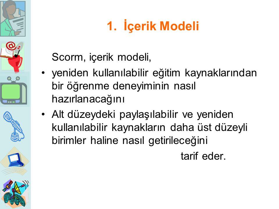1. İçerik Modeli Scorm, içerik modeli, yeniden kullanılabilir eğitim kaynaklarından bir öğrenme deneyiminin nasıl hazırlanacağını Alt düzeydeki paylaş