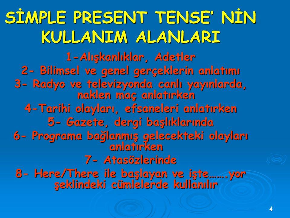3 SİMPLE PRESENT TENSE (GENİŞ ZAMAN) Alışkanlık icabı yapılan ve (bu nedenle) sık veya seyrek olarak tekrarlanan eylemleri anlatmak amacıyla kullanılı