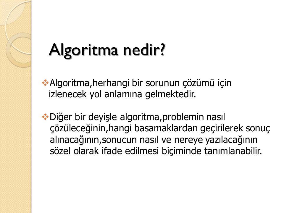 Algoritma nedir. Algoritma,herhangi bir sorunun çözümü için izlenecek yol anlamına gelmektedir.