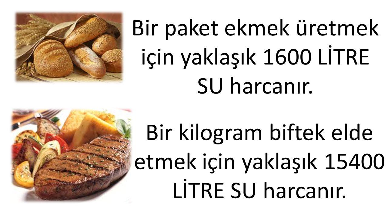 Bir paket ekmek üretmek için yaklaşık 1600 LİTRE SU harcanır. Bir kilogram biftek elde etmek için yaklaşık 15400 LİTRE SU harcanır.