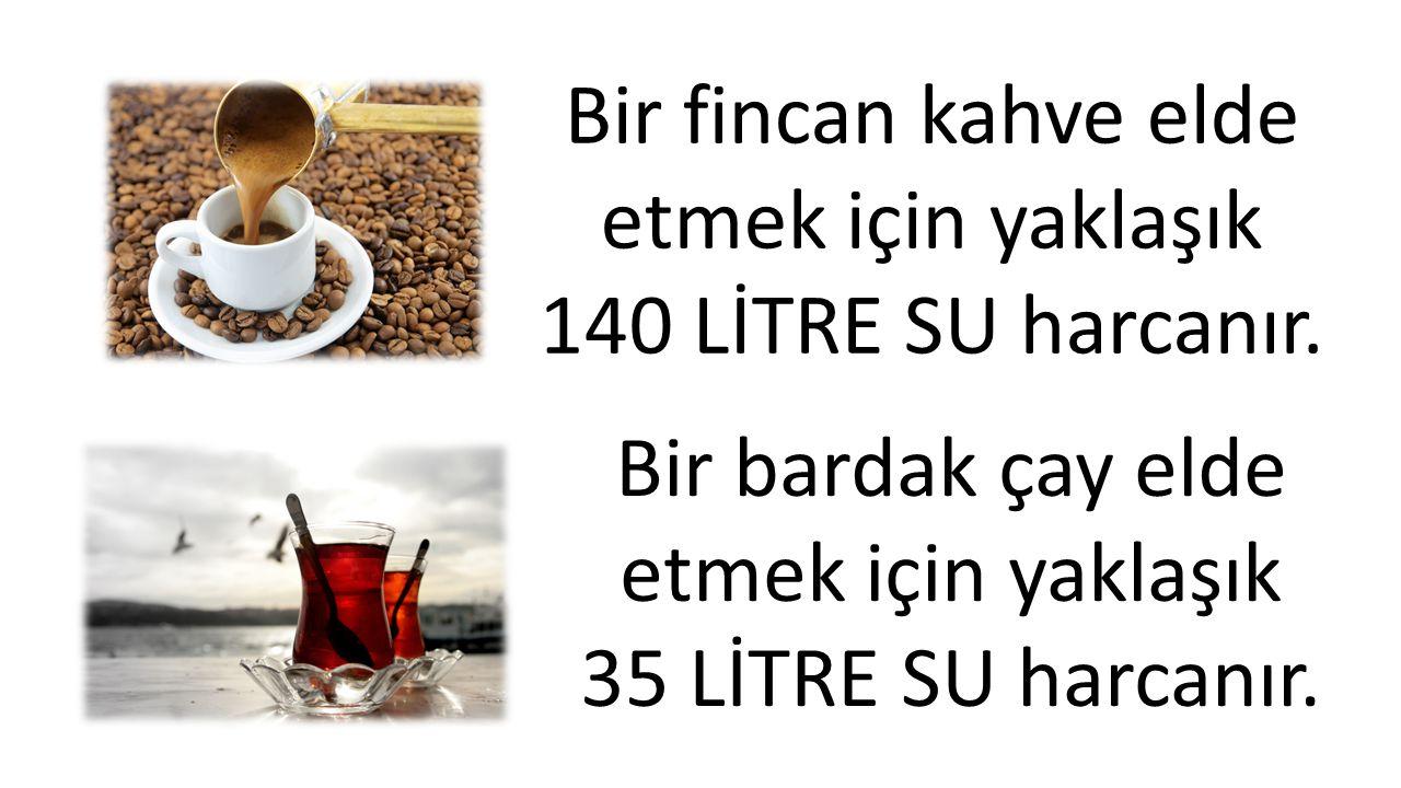 Bir fincan kahve elde etmek için yaklaşık 140 LİTRE SU harcanır. Bir bardak çay elde etmek için yaklaşık 35 LİTRE SU harcanır.