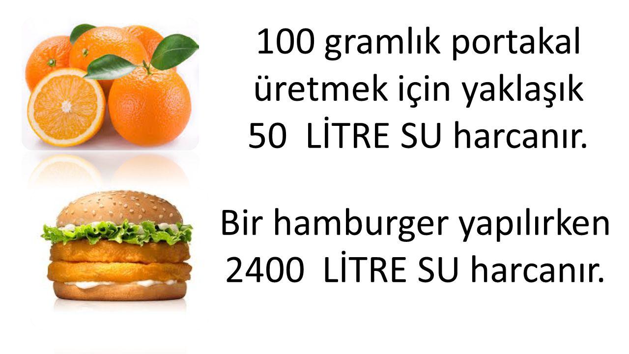 100 gramlık portakal üretmek için yaklaşık 50 LİTRE SU harcanır. Bir hamburger yapılırken 2400 LİTRE SU harcanır.