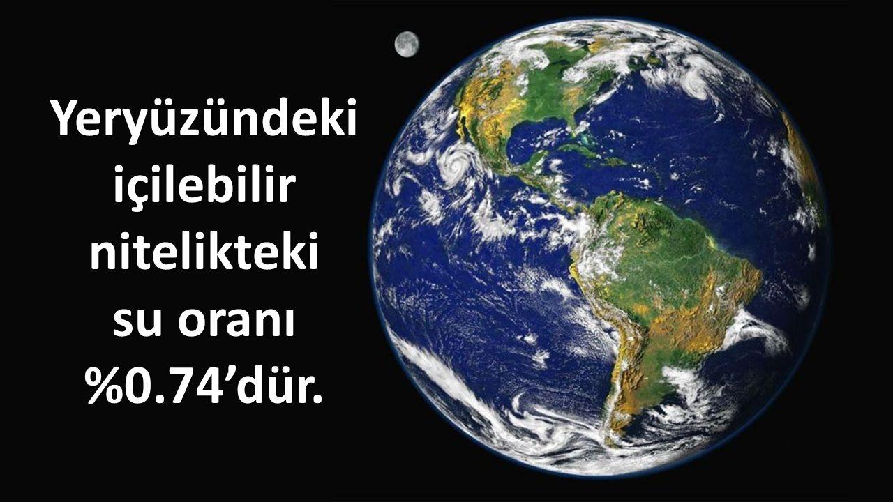 Yeryüzündeki içilebilir nitelikteki su oranı %0.74'dür.