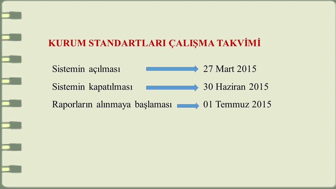 Sistemin açılması 27 Mart 2015 Sistemin kapatılması 30 Haziran 2015 Raporların alınmaya başlaması 01 Temmuz 2015 KURUM STANDARTLARI ÇALIŞMA TAKVİMİ