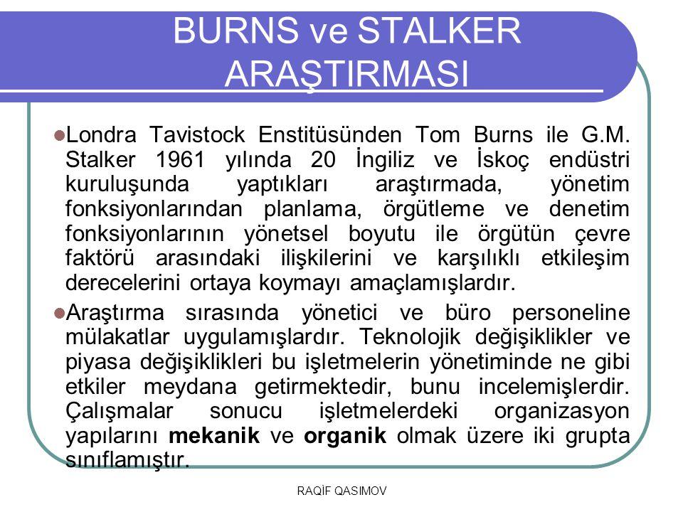 RAQİF QASIMOV BURNS ve STALKER ARAŞTIRMASI Londra Tavistock Enstitüsünden Tom Burns ile G.M. Stalker 1961 yılında 20 İngiliz ve İskoç endüstri kuruluş
