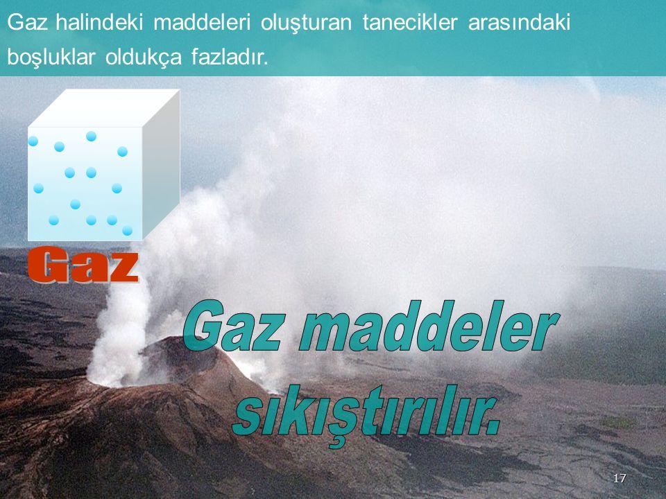 Gaz halindeki maddeleri oluşturan tanecikler arasındaki boşluklar oldukça fazladır. 17