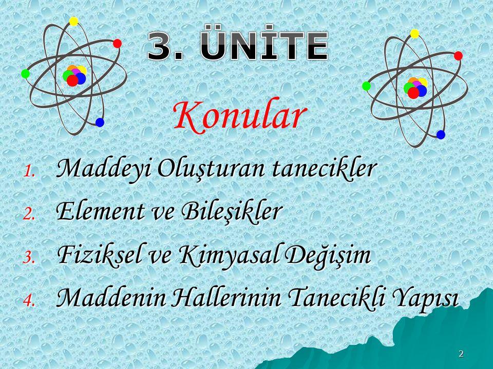 3 1.Maddeyi Oluşturan Tanecikler  Maddelerin taneciklerden oluştuğunu  Maddelerin boşluklu yapıda olduğunu  Atom tarihsel gelişimini öğreneceğiz Anahtar Kavramlar  Atom