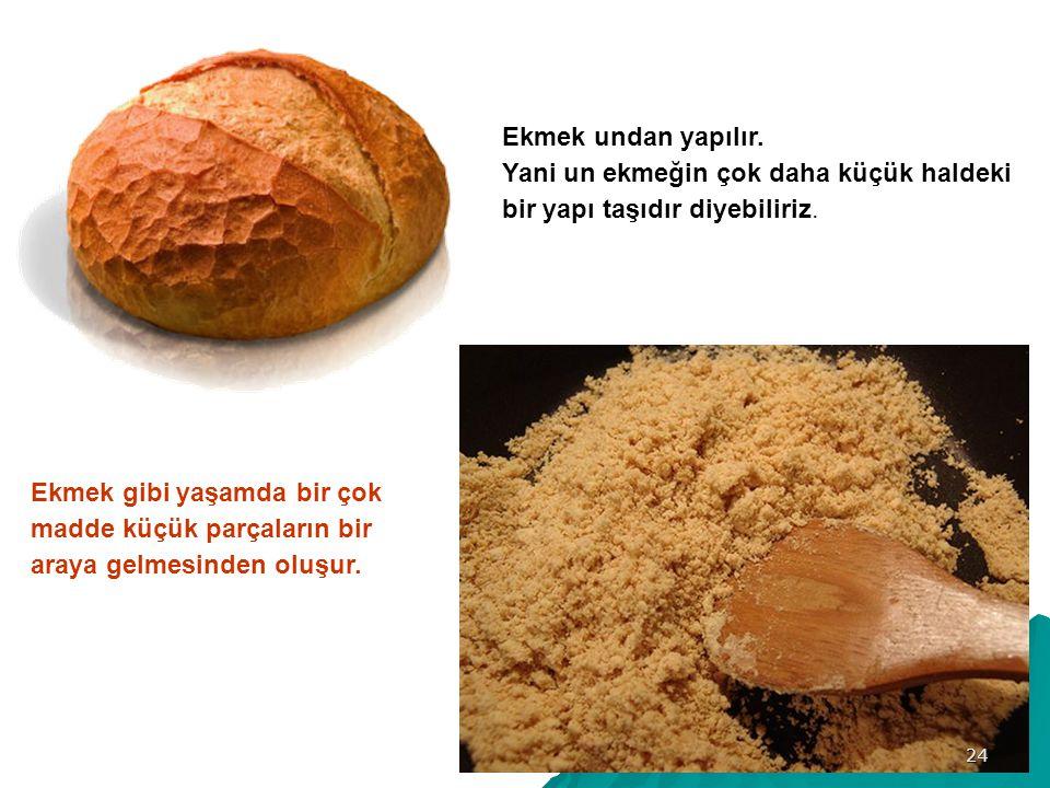 Ekmek undan yapılır.Yani un ekmeğin çok daha küçük haldeki bir yapı taşıdır diyebiliriz.