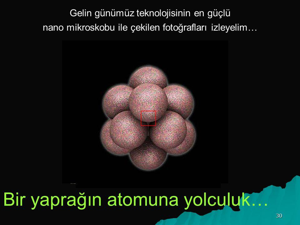 Gelin günümüz teknolojisinin en güçlü nano mikroskobu ile çekilen fotoğrafları izleyelim… Bir yaprağın atomuna yolculuk… 30