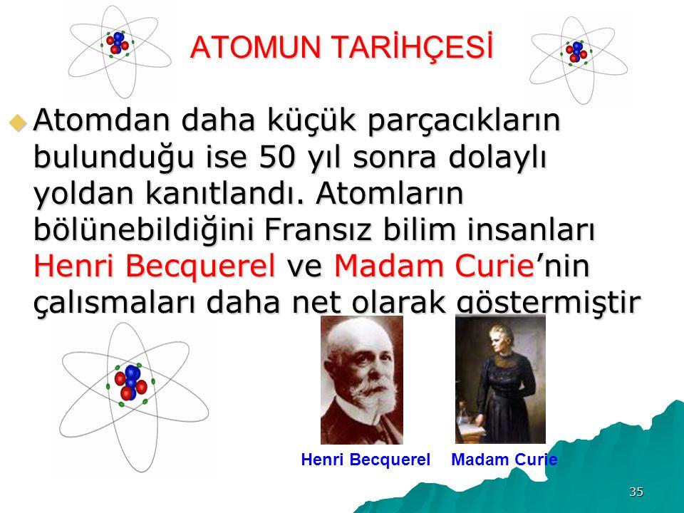 35 ATOMUN TARİHÇESİ  Atomdan daha küçük parçacıkların bulunduğu ise 50 yıl sonra dolaylı yoldan kanıtlandı.