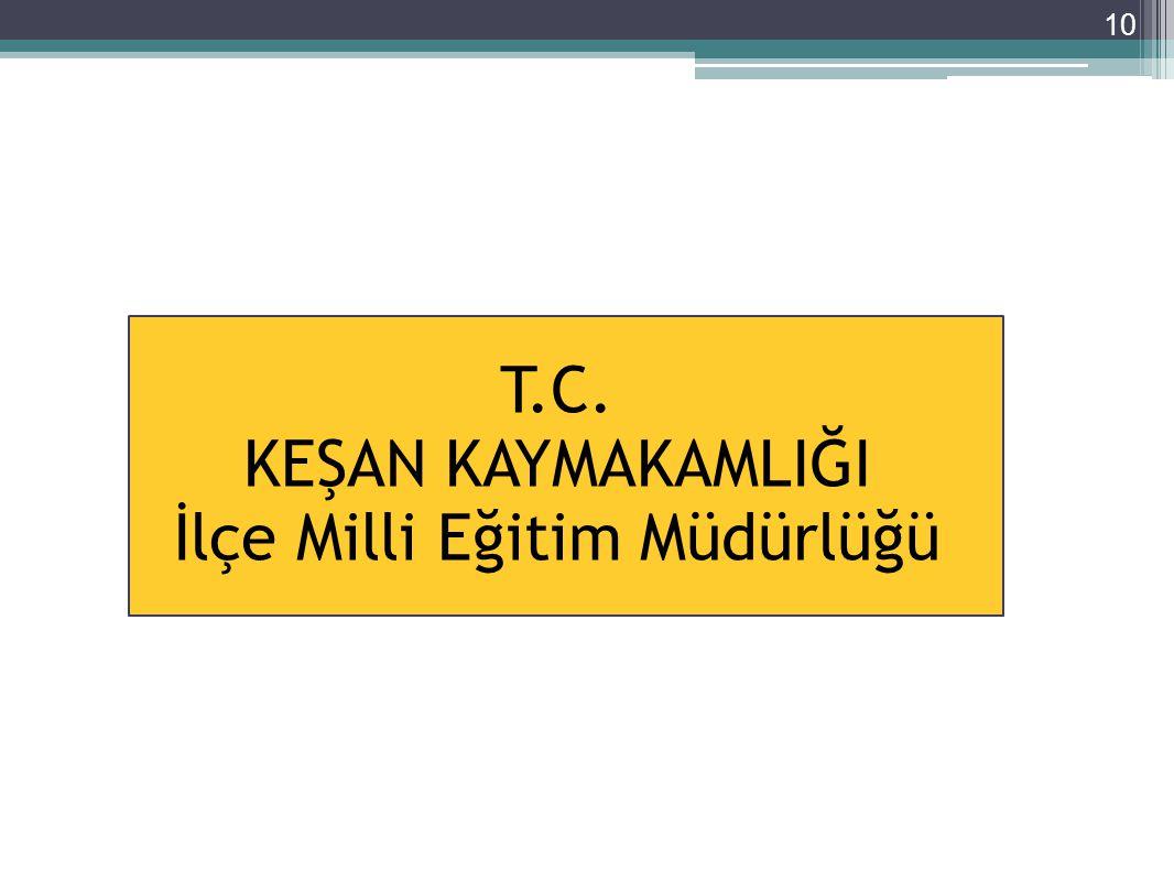 10 T.C. KEŞAN KAYMAKAMLIĞI İlçe Milli Eğitim Müdürlüğü