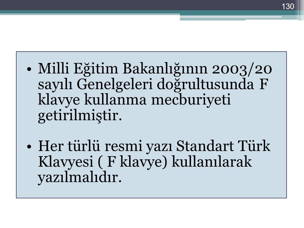 130 Milli Eğitim Bakanlığının 2003/20 sayılı Genelgeleri doğrultusunda F klavye kullanma mecburiyeti getirilmiştir. Her türlü resmi yazı Standart Türk
