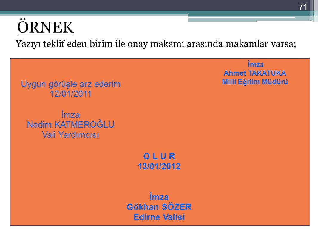 71 ÖRNEK Yazıyı teklif eden birim ile onay makamı arasında makamlar varsa; O L U R 13/01/2012 İmza Gökhan SÖZER Edirne Valisi Uygun görüşle arz ederim
