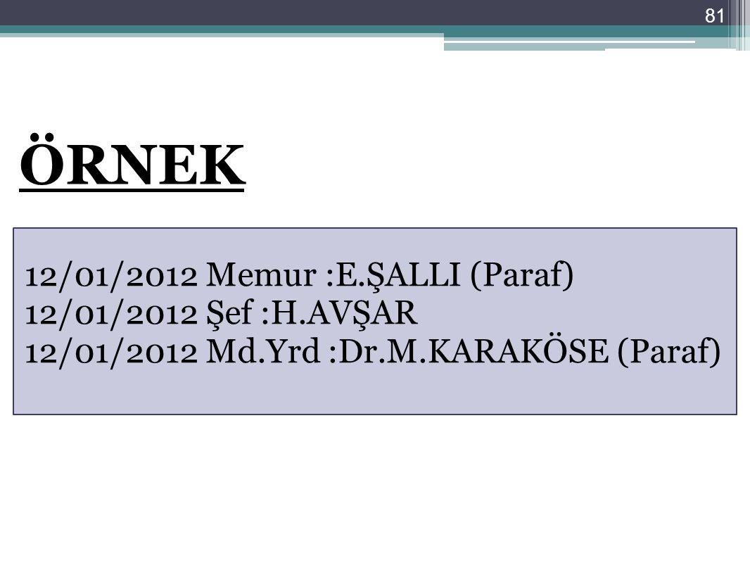 81 12/01/2012 Memur :E.ŞALLI (Paraf) 12/01/2012 Şef :H.AVŞAR 12/01/2012 Md.Yrd :Dr.M.KARAKÖSE (Paraf) ÖRNEK