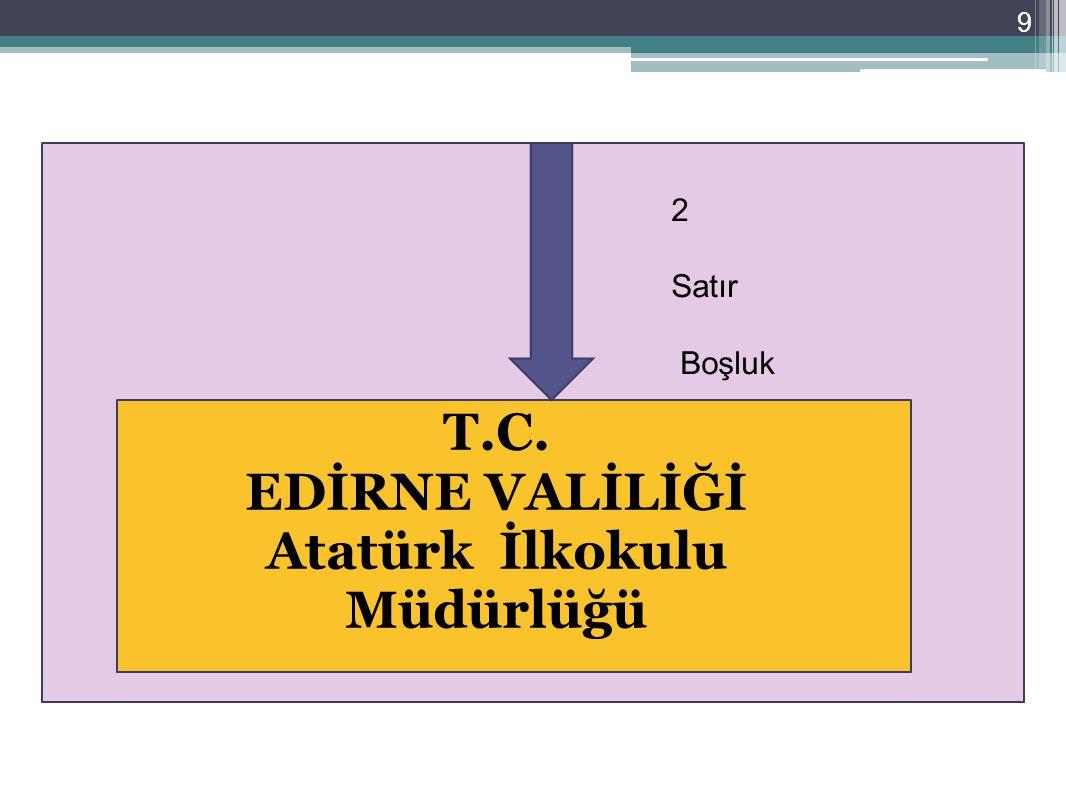 30 Gönderilen makamda adrese yer verilmesi durumunda adres küçük harflerle başlığın altına ortalanarak yazılır.