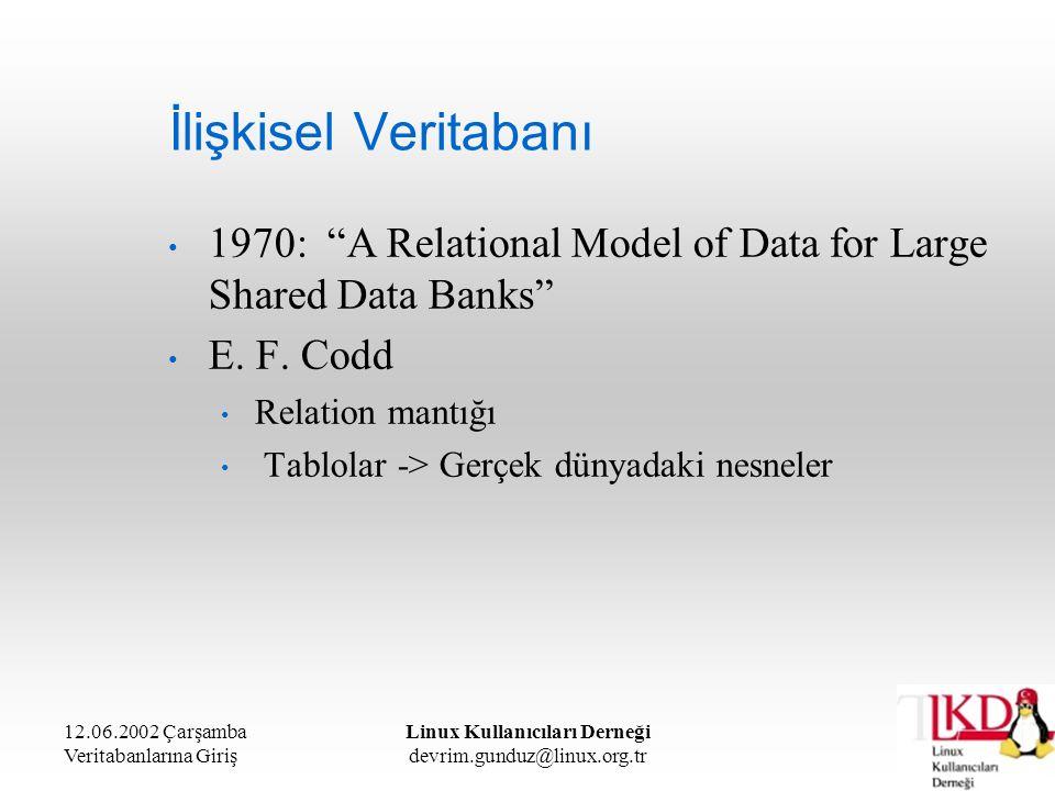 """12.06.2002 Çarşamba Veritabanlarına Giriş Linux Kullanıcıları Derneği devrim.gunduz@linux.org.tr İlişkisel Veritabanı 1970: """"A Relational Model of Dat"""