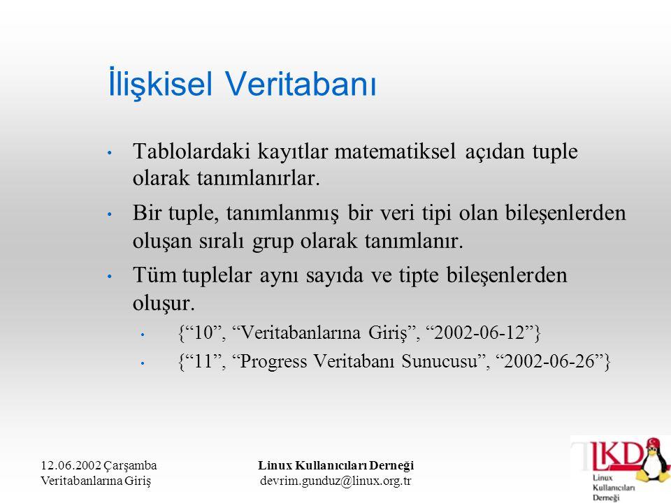 12.06.2002 Çarşamba Veritabanlarına Giriş Linux Kullanıcıları Derneği devrim.gunduz@linux.org.tr İlişkisel Veritabanı Tablolardaki kayıtlar matematiks