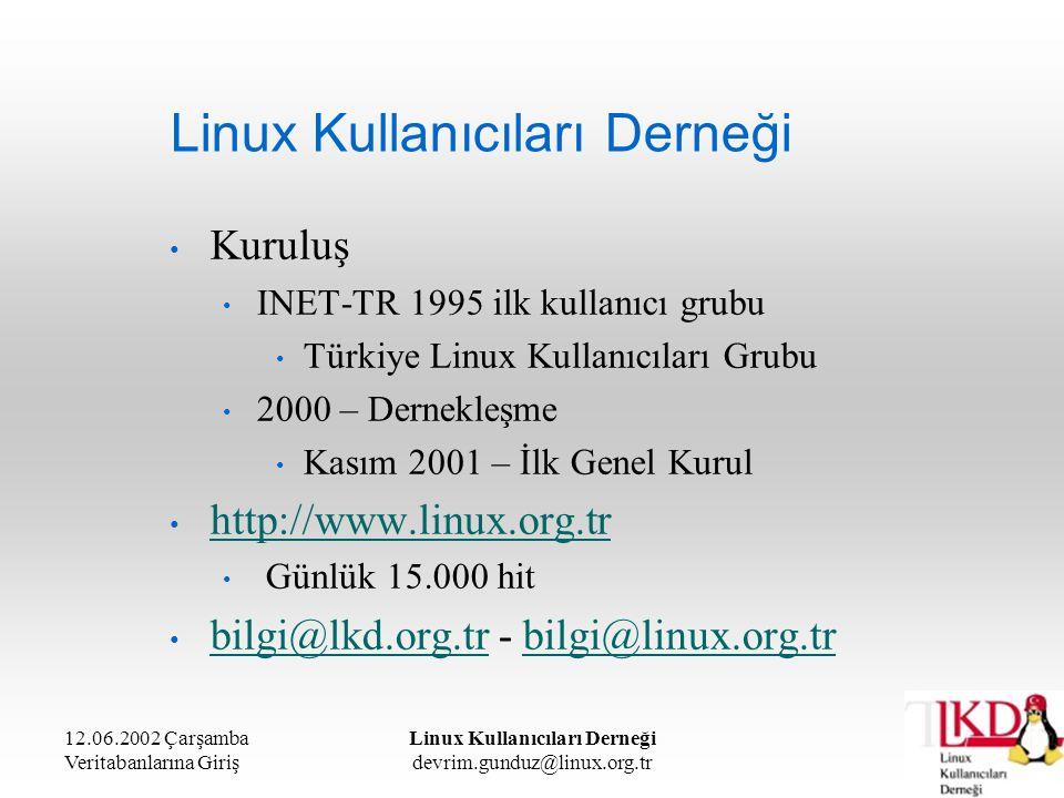 12.06.2002 Çarşamba Veritabanlarına Giriş Linux Kullanıcıları Derneği devrim.gunduz@linux.org.tr Linux Kullanıcıları Derneği E-posta listeleri Aylık 1 milyon dolayında e-posta dağıtılmaktadır.
