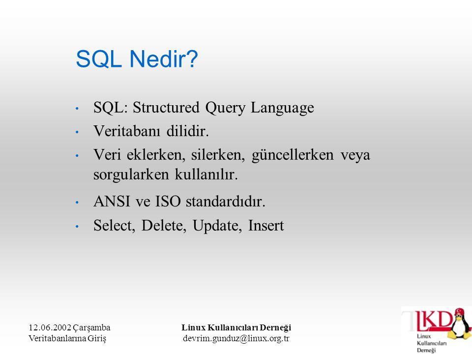 12.06.2002 Çarşamba Veritabanlarına Giriş Linux Kullanıcıları Derneği devrim.gunduz@linux.org.tr SQL Nedir? SQL: Structured Query Language Veritabanı