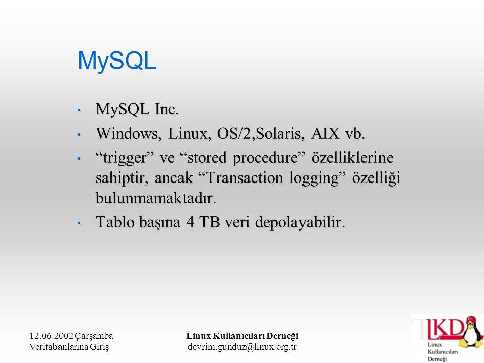 12.06.2002 Çarşamba Veritabanlarına Giriş Linux Kullanıcıları Derneği devrim.gunduz@linux.org.tr MySQL MySQL Inc. MySQL Inc. Windows, Linux, OS/2,Sola