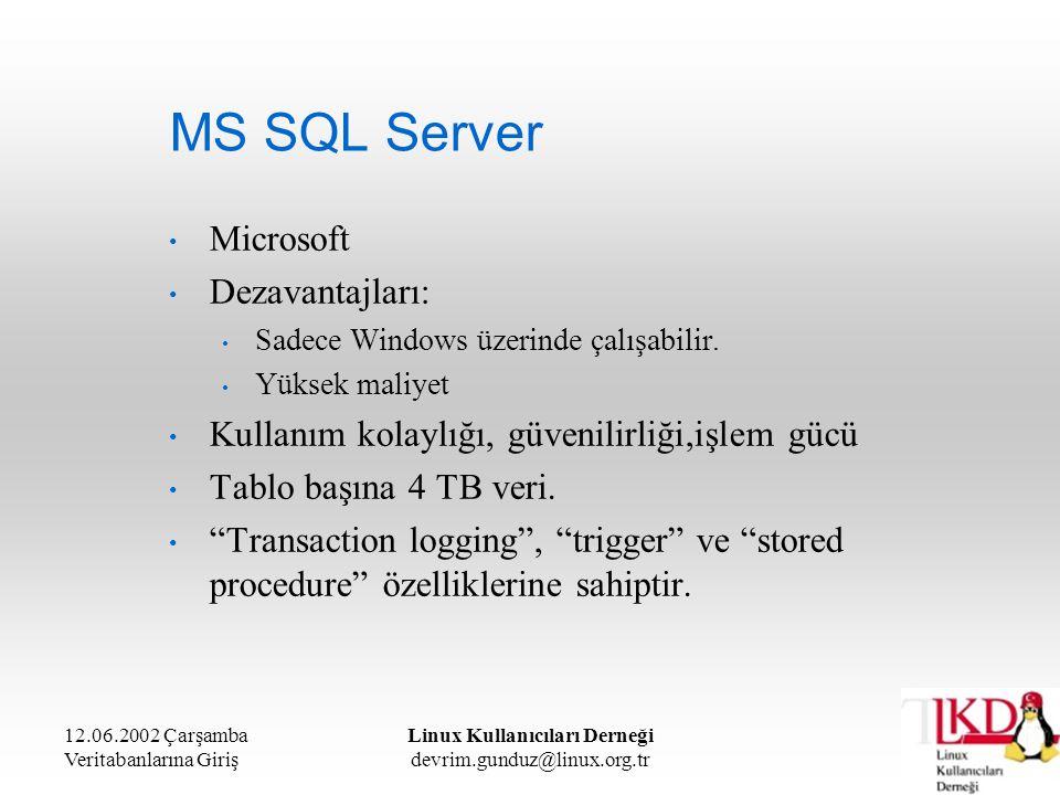 12.06.2002 Çarşamba Veritabanlarına Giriş Linux Kullanıcıları Derneği devrim.gunduz@linux.org.tr MS SQL Server Microsoft Dezavantajları: Sadece Window