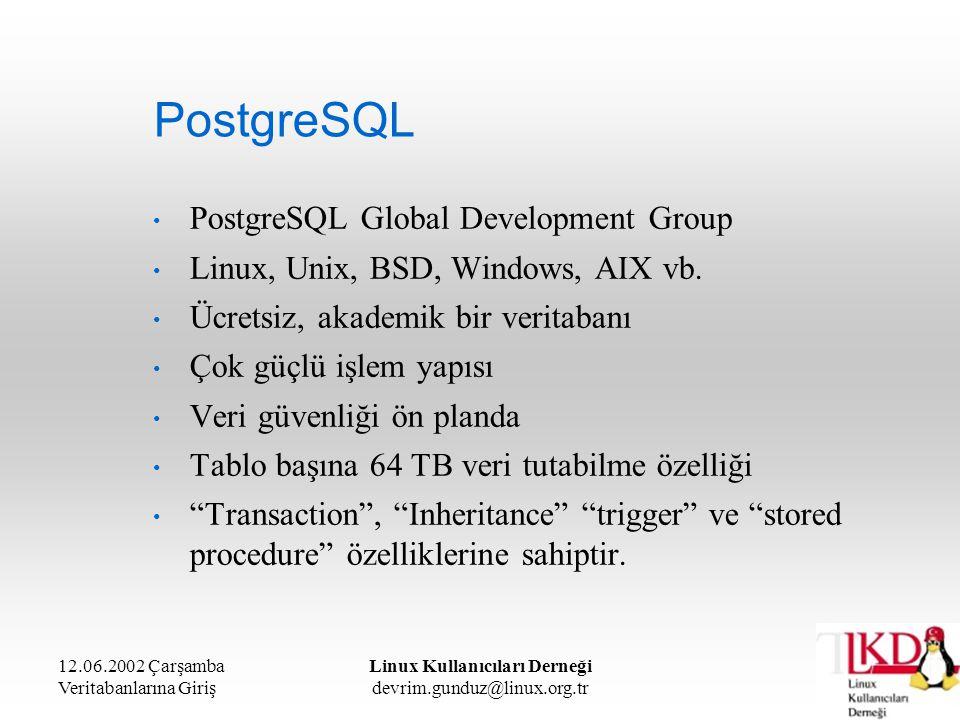 12.06.2002 Çarşamba Veritabanlarına Giriş Linux Kullanıcıları Derneği devrim.gunduz@linux.org.tr PostgreSQL PostgreSQL Global Development Group Linux,