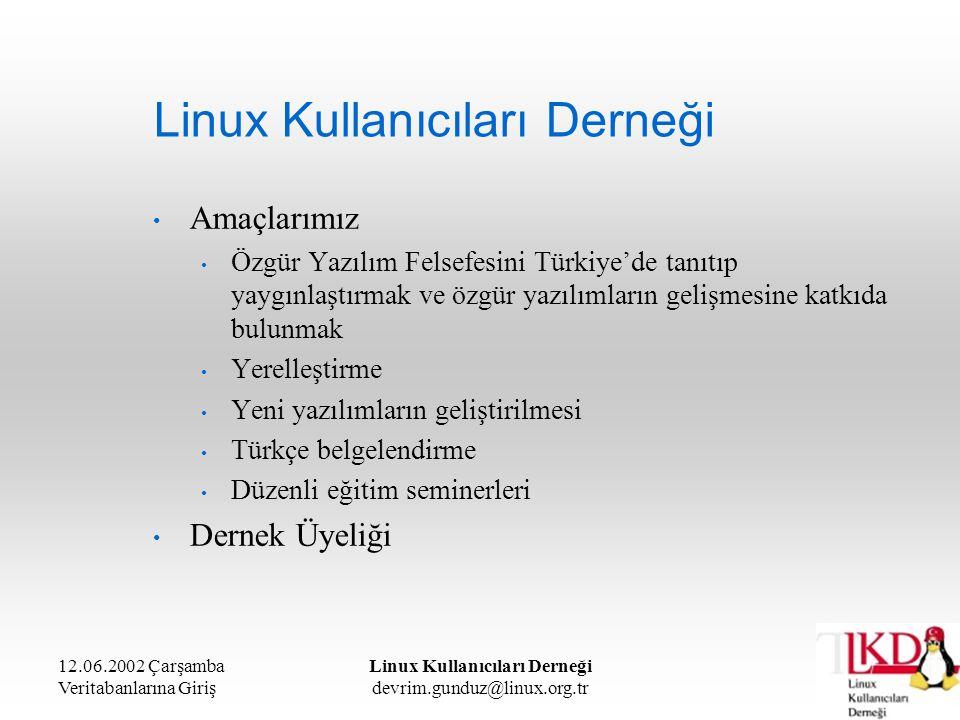 12.06.2002 Çarşamba Veritabanlarına Giriş Linux Kullanıcıları Derneği devrim.gunduz@linux.org.tr Linux Kullanıcıları Derneği Desteklediğimiz Etkinlikler Akademik Bilişim Konferansı İnternet Haftası kapsamında etkinlikler Türkiye'de İnternet Konferansları Düzenlediğimiz Etkinlikler Türkiye Linux ve Özgür Yazılım Şenliği Ankara ve İstanbul'da düzenli seminerler Gezici Seminerler Piknik