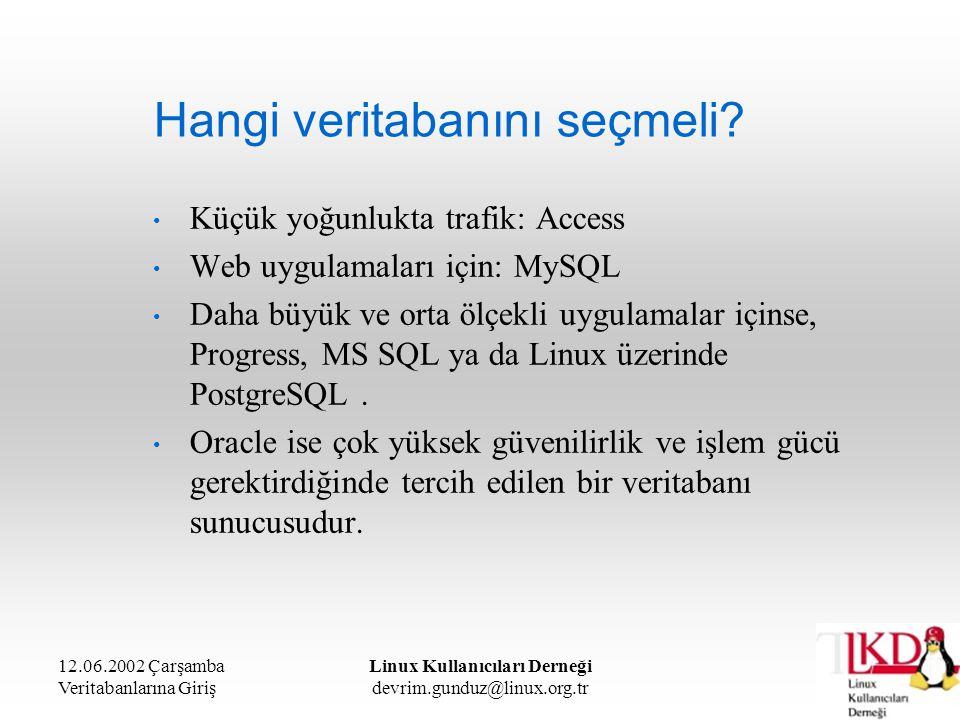 12.06.2002 Çarşamba Veritabanlarına Giriş Linux Kullanıcıları Derneği devrim.gunduz@linux.org.tr Hangi veritabanını seçmeli? Küçük yoğunlukta trafik: