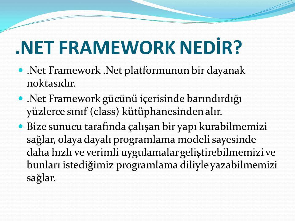 .NET FRAMEWORK NEDİR?.Net Framework.Net platformunun bir dayanak noktasıdır..Net Framework gücünü içerisinde barındırdığı yüzlerce sınıf (class) kütüphanesinden alır.
