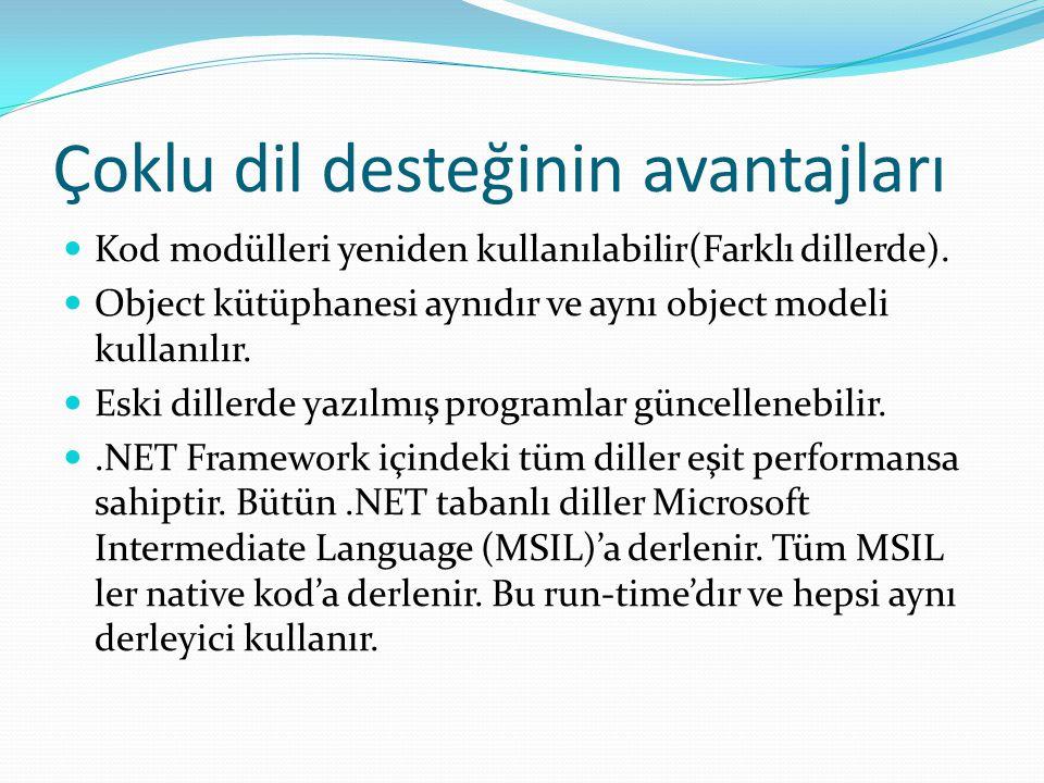 Çoklu dil desteğinin avantajları Kod modülleri yeniden kullanılabilir(Farklı dillerde). Object kütüphanesi aynıdır ve aynı object modeli kullanılır. E