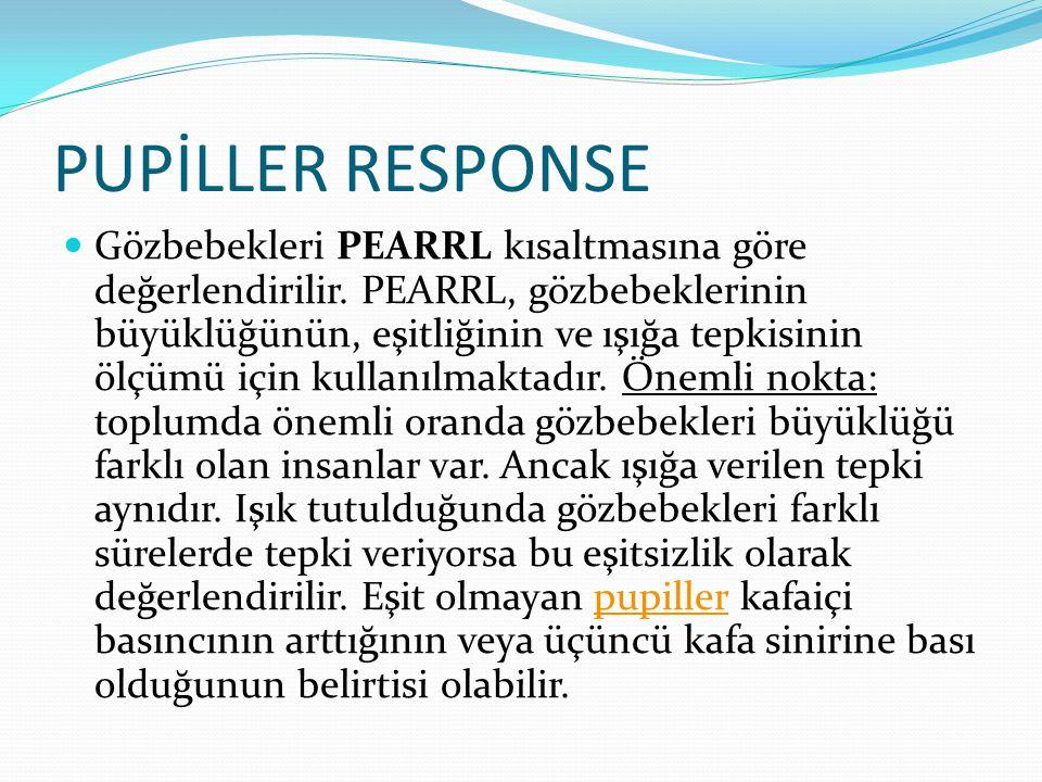 PUPİLLER RESPONSE Gözbebekleri PEARRL kısaltmasına göre değerlendirilir. PEARRL, gözbebeklerinin büyüklüğünün, eşitliğinin ve ışığa tepkisinin ölçümü