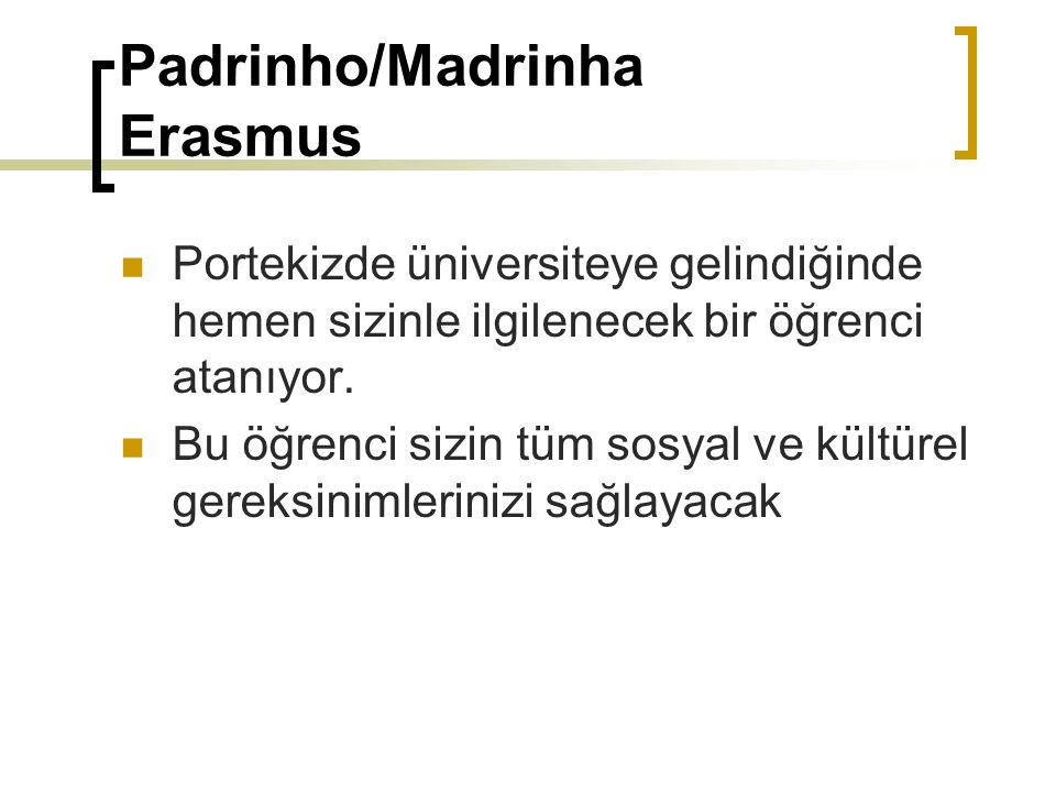 Padrinho/Madrinha Erasmus Portekizde üniversiteye gelindiğinde hemen sizinle ilgilenecek bir öğrenci atanıyor. Bu öğrenci sizin tüm sosyal ve kültürel