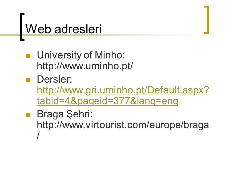 Web adresleri University of Minho: http://www.uminho.pt/ Dersler: http://www.gri.uminho.pt/Default.aspx? tabid=4&pageid=377&lang=eng http://www.gri.um