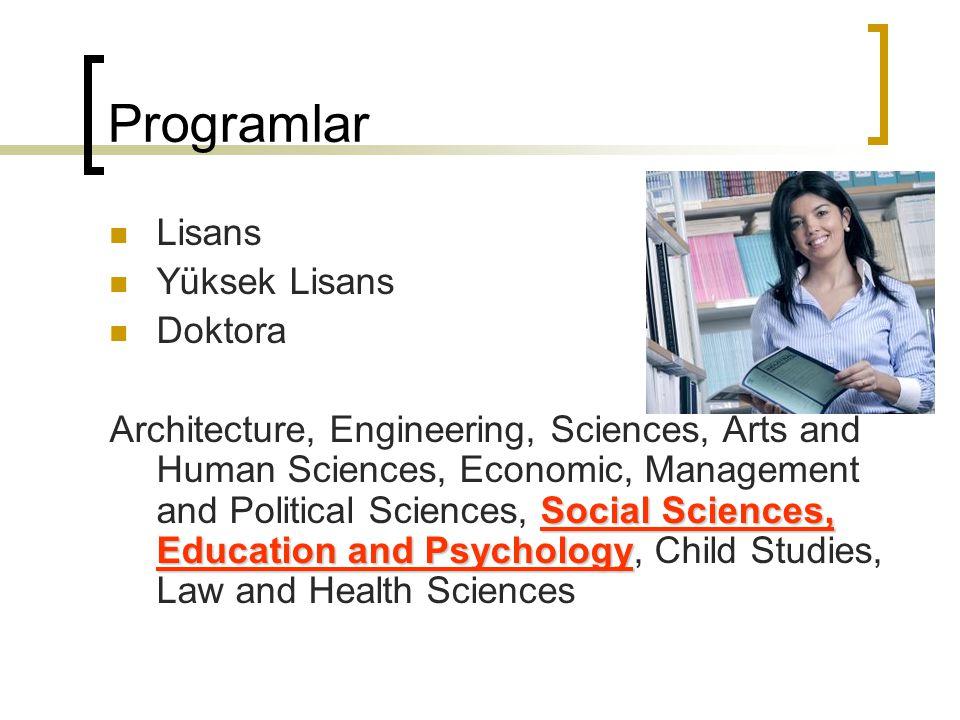 Lisans Programları 1.Döngü 4-6 arasında sürüyor.