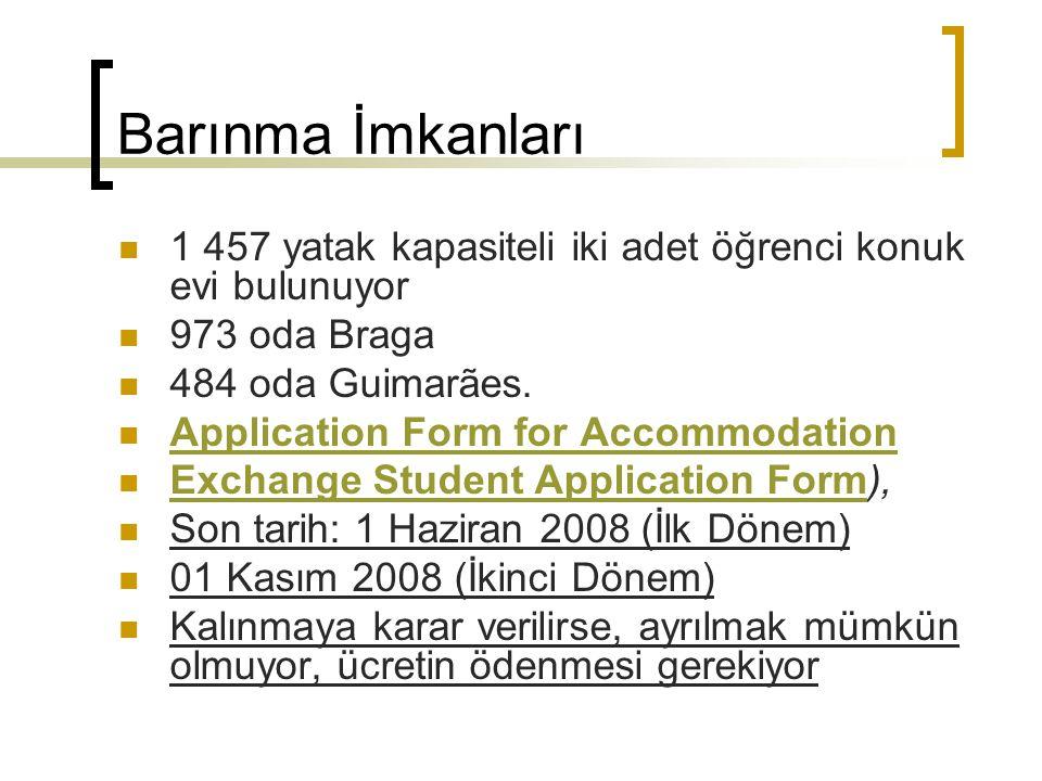 Barınma İmkanları 1 457 yatak kapasiteli iki adet öğrenci konuk evi bulunuyor 973 oda Braga 484 oda Guimarães. Application Form for Accommodation Exch