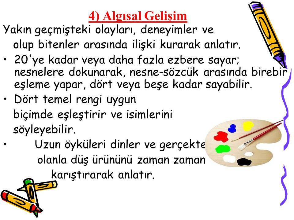 4) Algısal Gelişim Ezbere şiir okumaktan ya da çocuk şarkıları, çeşit çeşit tekerlemeler söylemekten çok hoşlanır.