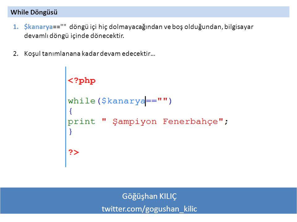 Göğüşhan KILIÇ twitter.com/gogushan_kilic While Döngüsü 1.$kanarya== döngü içi hiç dolmayacağından ve boş olduğundan, bilgisayar devamlı döngü içinde dönecektir.