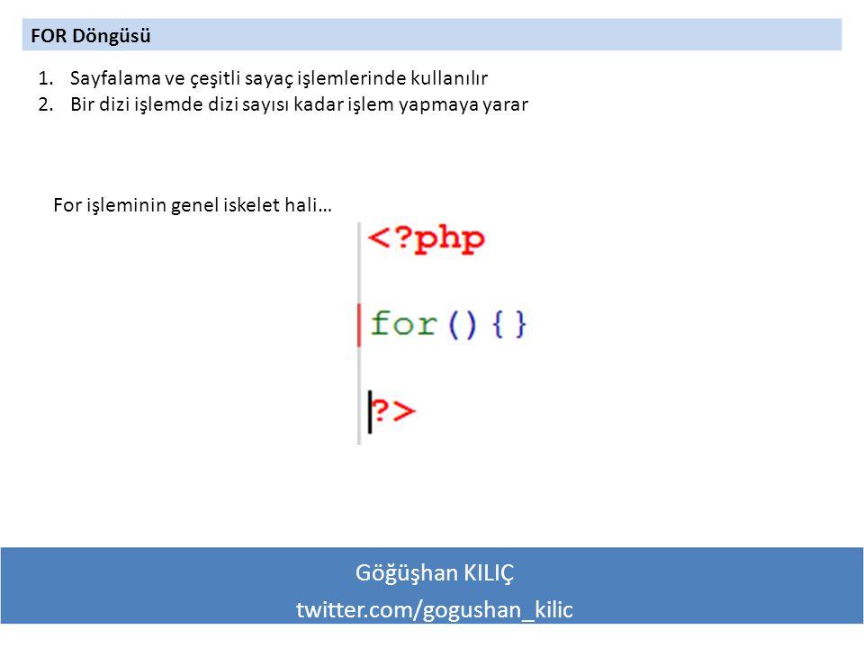 Göğüşhan KILIÇ twitter.com/gogushan_kilic FOR Döngüsü 1.Sayfalama ve çeşitli sayaç işlemlerinde kullanılır 2.Bir dizi işlemde dizi sayısı kadar işlem yapmaya yarar For işleminin genel iskelet hali…