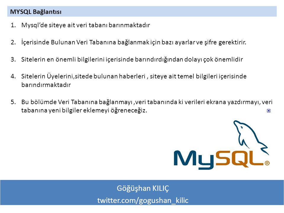Göğüşhan KILIÇ twitter.com/gogushan_kilic MYSQL Bağlantısı 1.Mysql'de siteye ait veri tabanı barınmaktadır 2.İçerisinde Bulunan Veri Tabanına bağlanmak için bazı ayarlar ve şifre gerektirir.